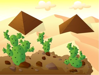 cactus on top of a hill, with two pyramids in sand desert
