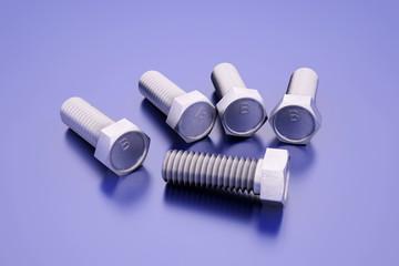 Composition of several bolts. 3D illustration.