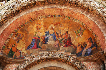 Facade Mosaic on entrance of Cathedral San Marco in Venice