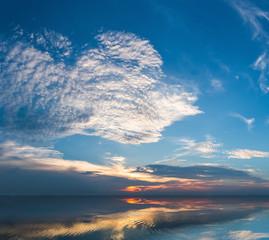 blue sky on the lake