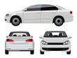 White Vehicle - Sedan Car from three angles - 79539958