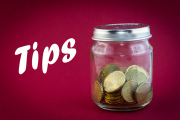 Euro coin in a little jar - tips