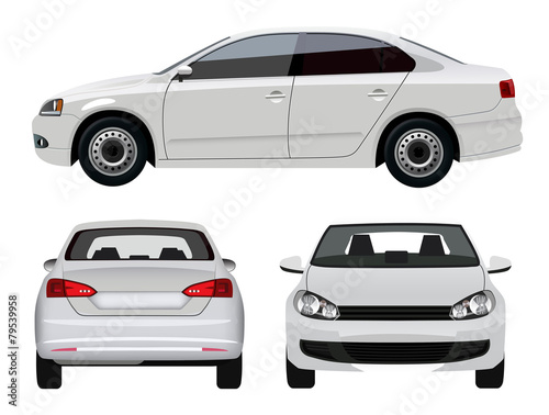 White Vehicle - Sedan Car from three angles poster