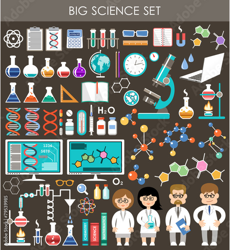 Big science set. Infographics.