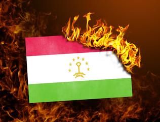 Flag burning - Tajikistan