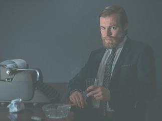 Moody portrait of a stylish vintage businessman