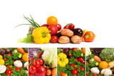 Collages of fresh vegetables