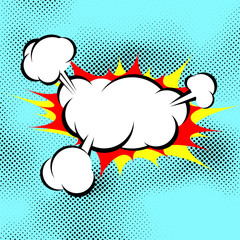 Pop art explosion boom cloud comic book background