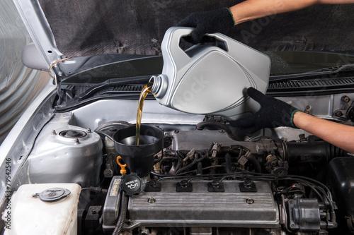 Leinwanddruck Bild engine oil cap