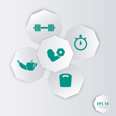3d octagonal elements with fitness icons for apps, web