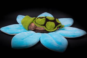 bébé habillé en tortue sur une fleure bleu