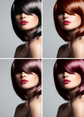 Collage of a beautiful young woman , with natural straight gloss