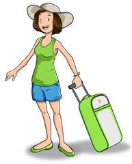 Mujer preparando viaje de vacaciones