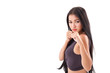 Leinwanddruck Bild - strong sporty fitness woman practice martial arts, boxing