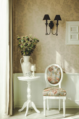 Classical style Interior decoration with chair table and flowers
