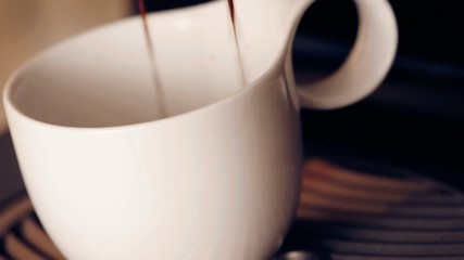 Coffee machine making cappuccino espresso coffee, relax time