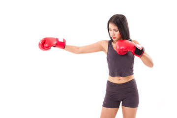 strong fitness woman boxer or fighter punching at blank space, s