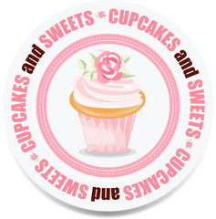 Round cupcakes and sweets label