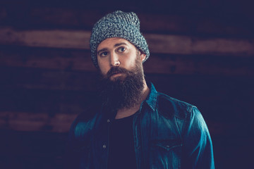 Handsome Man with Long Beard in Trendy Outfit