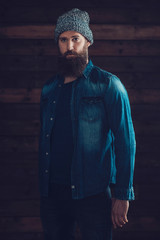 Serious Man with Long Beard in Casual outfit