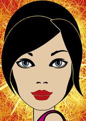 Portrait pop art d'une femme brune