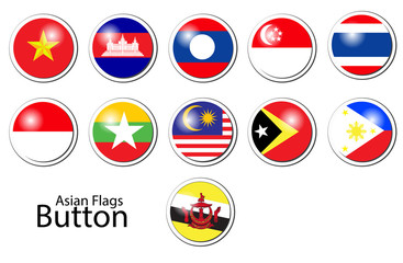 Asian flags and buttons