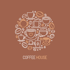 Vector coffee house logo concept
