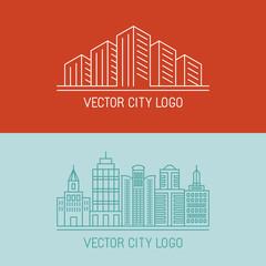 Vector linear city logo concepts