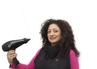 hairdresser with hair dryer