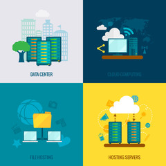 File hosting flat icons composition