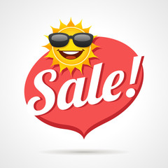 Summer Sale Label With Smiling Sun Vector Symbol