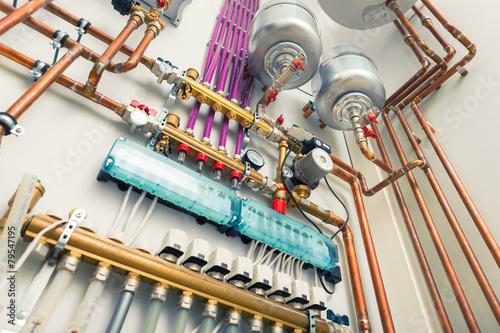 Leinwandbild Motiv independent heating system in boiler-house