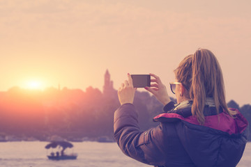 Chasing the sunset on Danube river in Belgrade, Serbia.