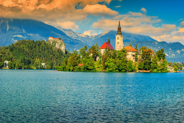 Stunning panorama with Lake Bled,Slovenia,Europe