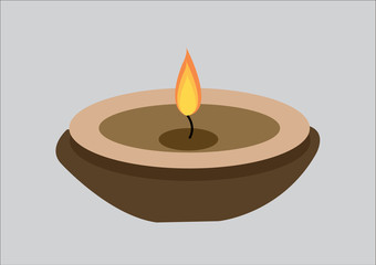 Candle flame on vintage wooden . Vector Illustration