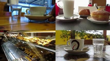 Caffè e colazione al bar, montaggio collage multy screen
