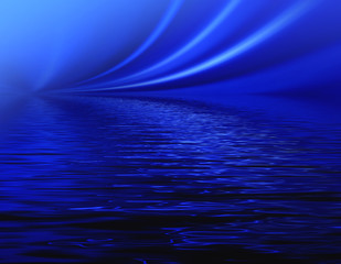 Abstract dark blue waves background for design