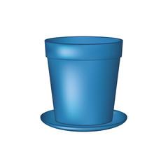 Empty flowerpot in blue design