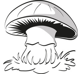 Lonely mushroom on a white background. Coloring page.