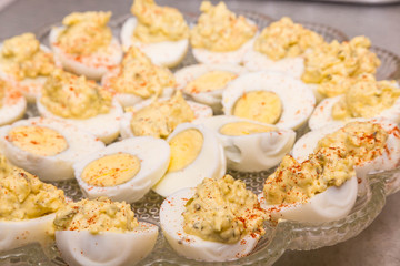 Fresh Devilled Eggs Garnished with Paprika