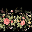 seamless floral border on black background