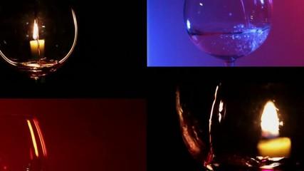 Vino rosso e bianco versato nel bicchiere, montaggio collage