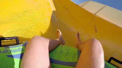 Enjoyment on the water slide
