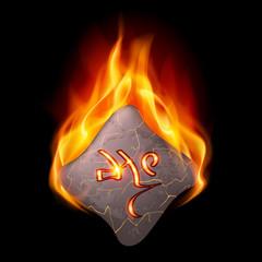 Burning stone with magic rune