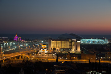 Evening view of the Sochi Olympic Park.