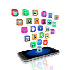 mobile phone with colorful application icons , on white backgrou