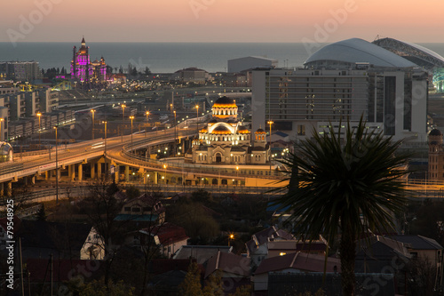 Evening view of the Sochi Olympic Park. - 79548925