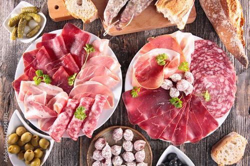 Fotobehang Vlees composition of delicatessen