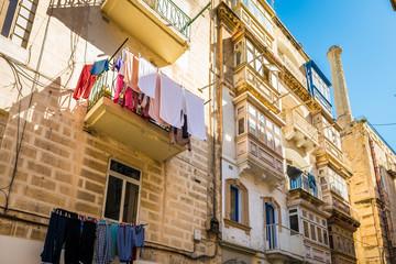 Façade d'immeuble à La Valette, Malte