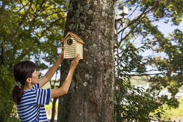 Woman putting a bird house on a tree.